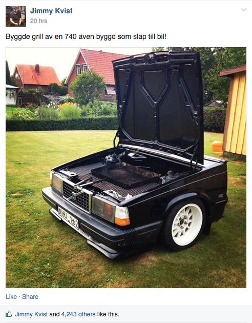 Bilden på bilgrillen har fått över 4 000 likes på Facebook. Foto: Privat