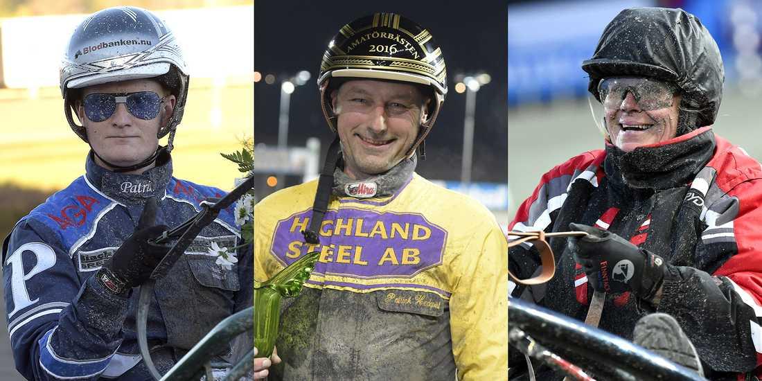 """Patrik Fernlund, Patrick Hedqvist och Anna-Lena Örneholm Johansson är tre av amatörkuskarna som gör upp i """"Amatörbästen"""", V86–4."""