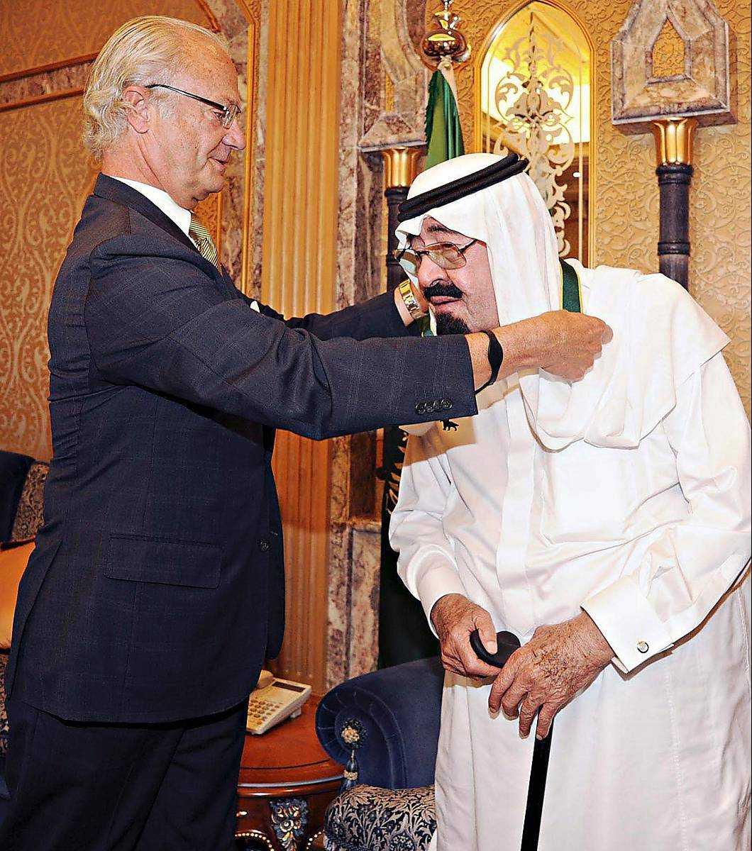 Kung Carl XVI Gustaf hedrade Saudiarabiens kung Abdullah med förtjänsttecknet Bronsvargen i form av en medalj förra hösten.