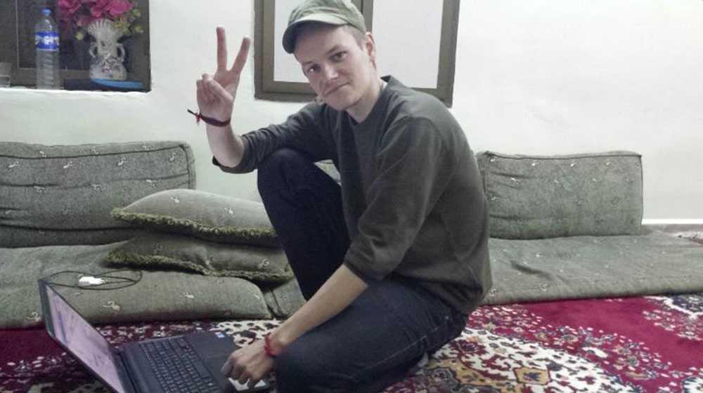 Journalisten Joakim Medin strax efter frisläppandet.