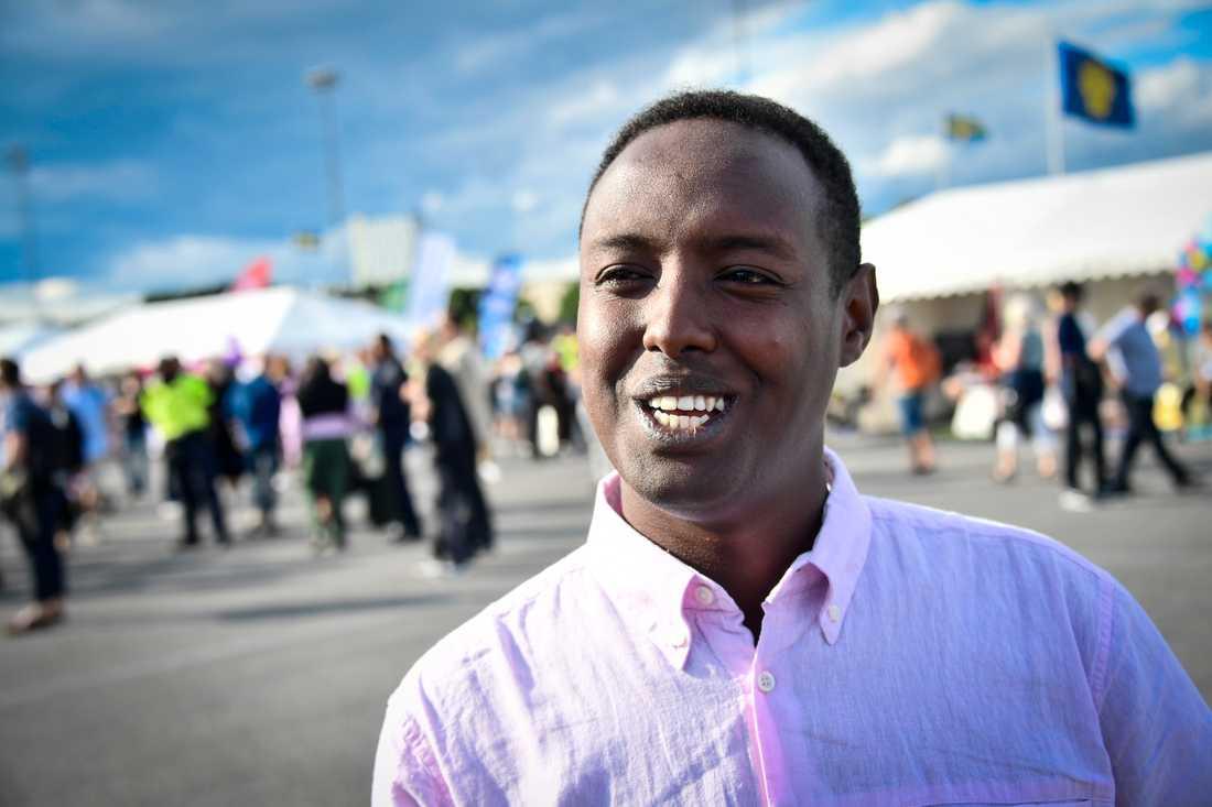 Ahmed Abdirahman på Spånga IP under politikerveckan i Järva 2017.