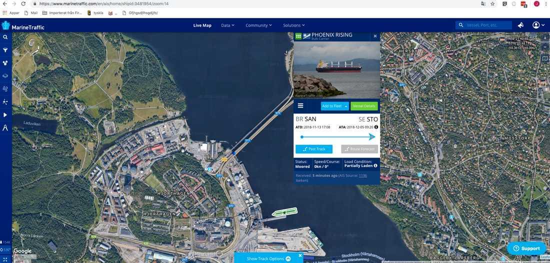 Över tre veckor senare anlände fartyget till Fortum och Stockholms stads nya miljö-värmeverk i Hjorthagen, Stockholm.