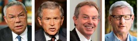 Colin Powell, George W Bush, Tony Blair och Carl Bildt.