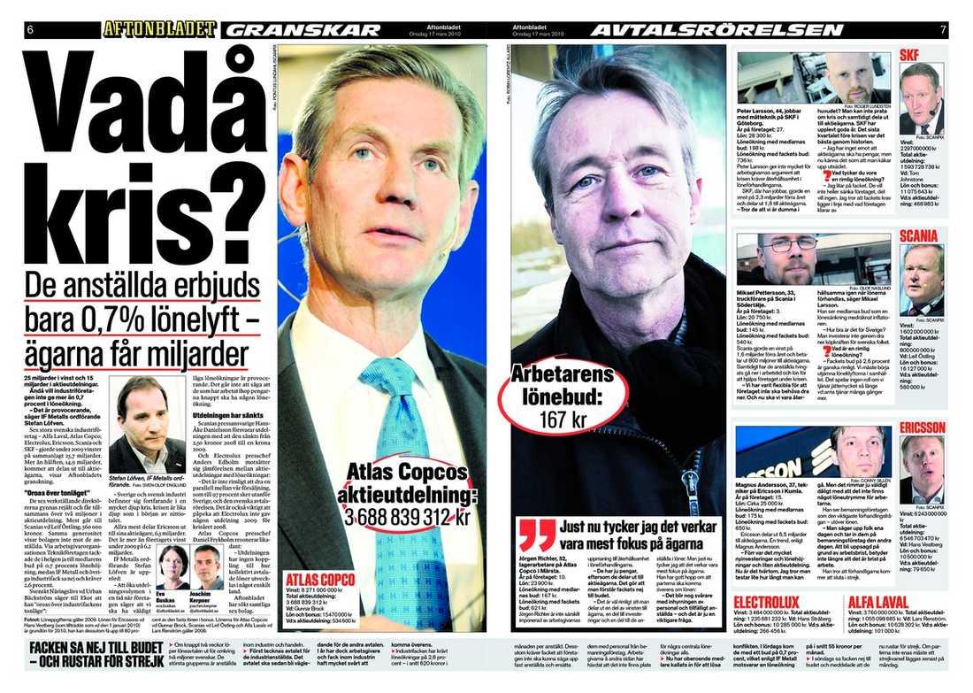 Aftonbladets artikel om löneavtalen i går.