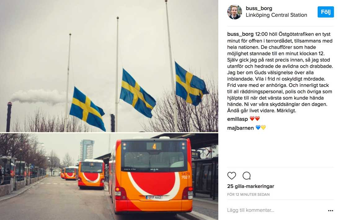 Busschaufförer i Östergötland hedrade offren med en tyst minut.