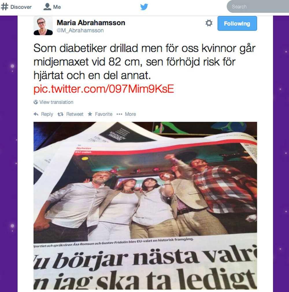 Maria Abrahamssons tweet