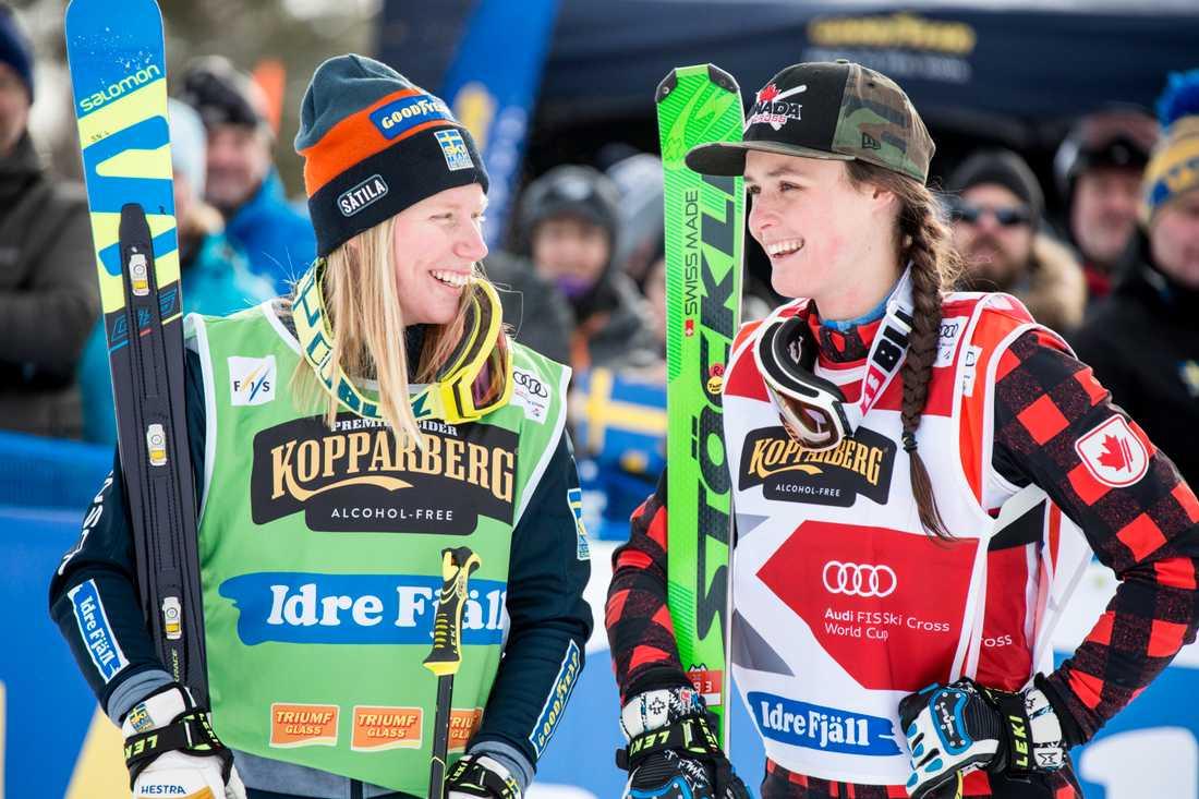 Sandra Näslund och konkurrenten Marielle Thompson.