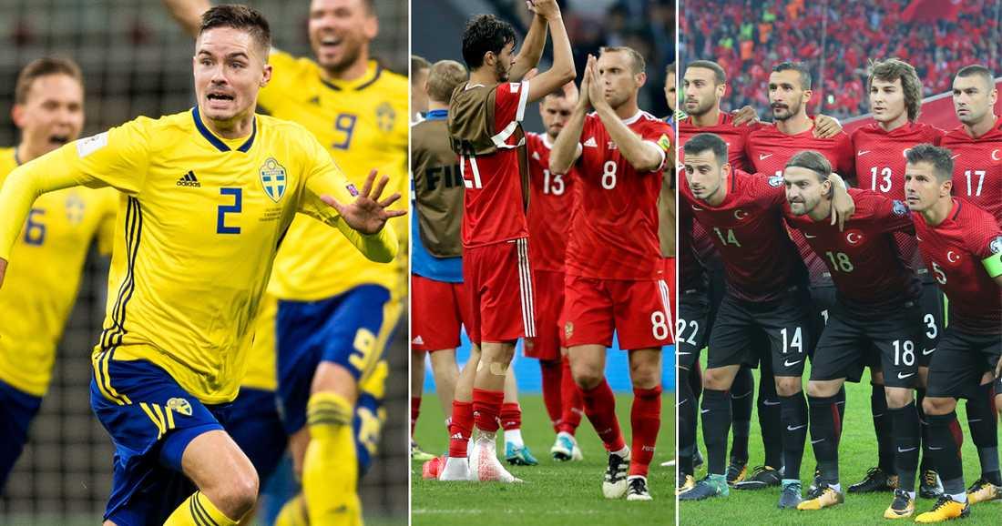 Sverige ställs mot Ryssland och Turkiet