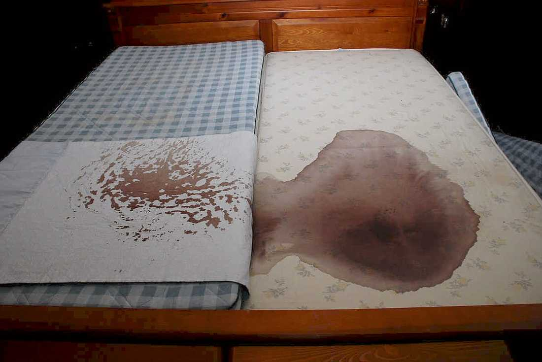 MARINAS SÄNGHALVA  När nya hyresgäster flyttade in i Marina Johanssons hus gjorde de det här fyndet i Marinas säng – något som polisens tekniker helt hade missat.