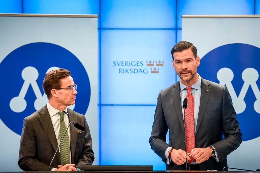 Moderaternas partiledare Ulf Kristersson och rättspolitiske talesperson Johan Forssell.