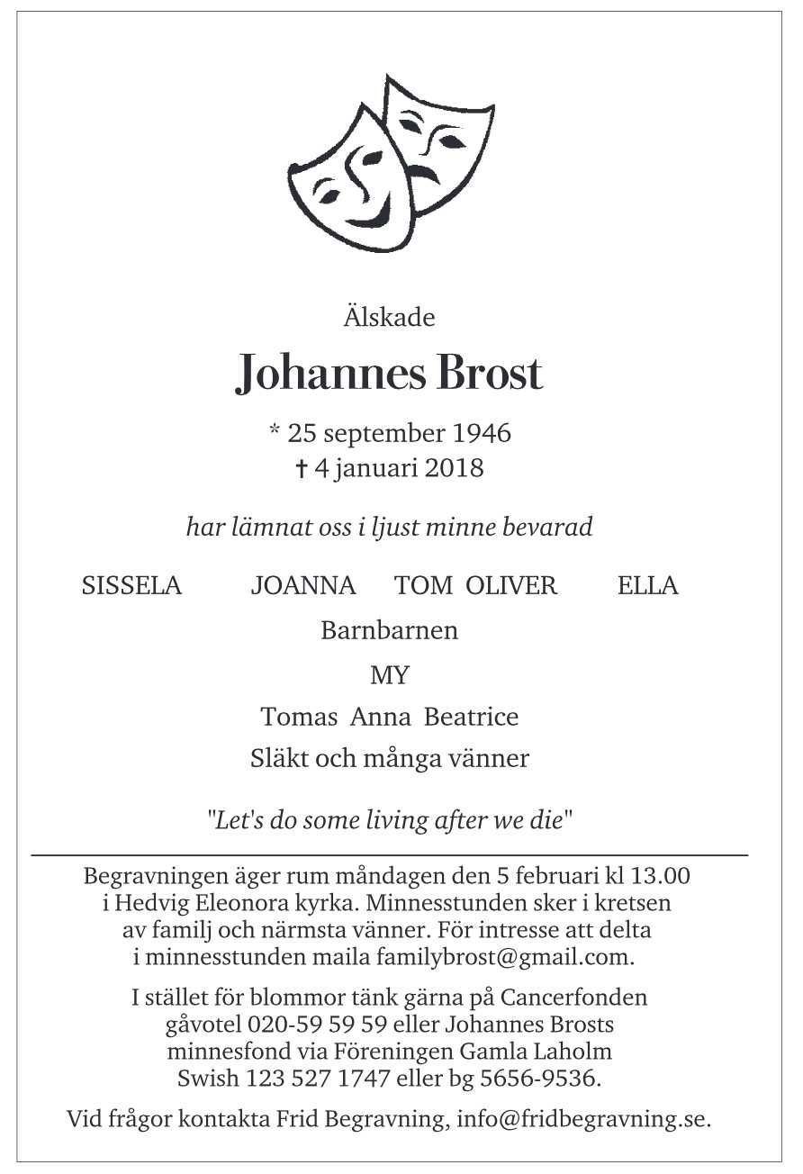 Johannes Brosts dödsannons publiceras i DN söndagen den 21 januari.