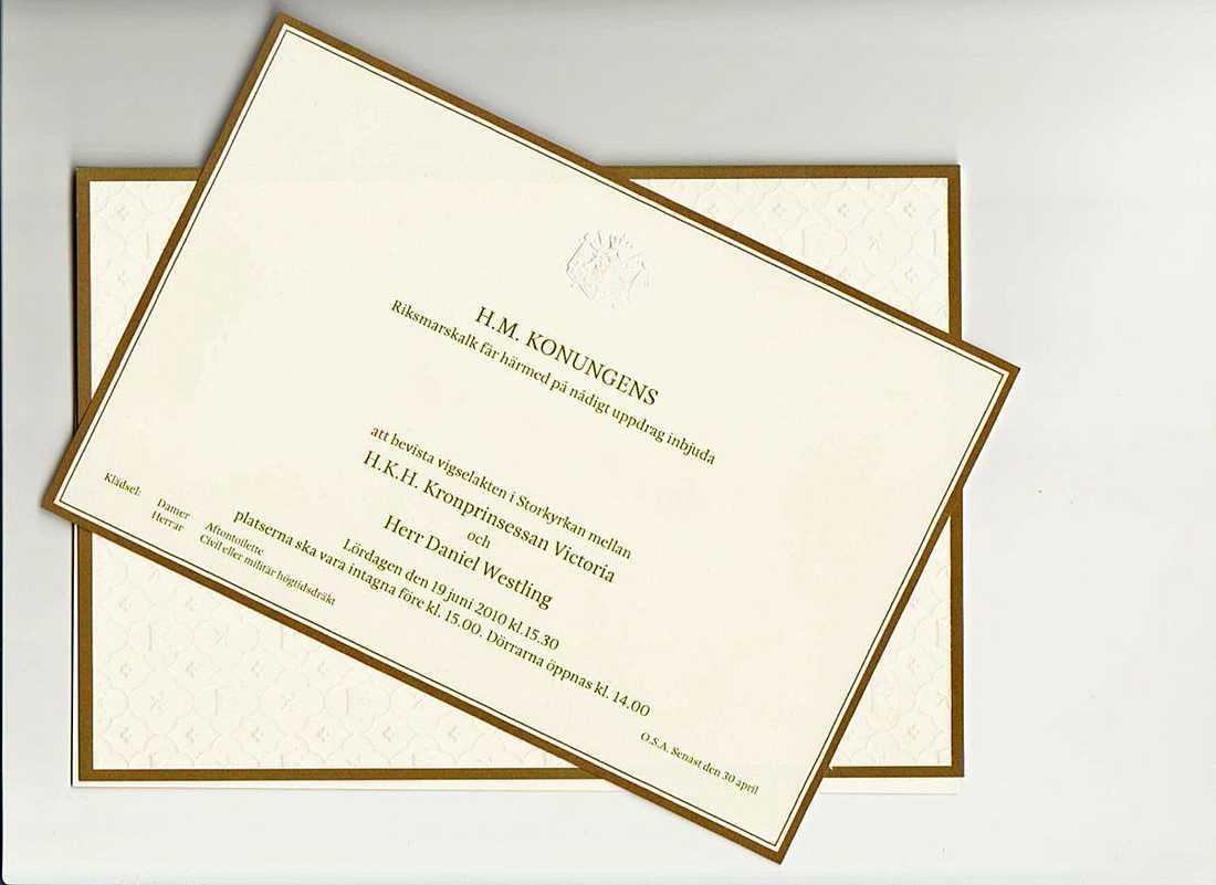 P4 Extra med Lotta Bromé kan i dag avslöja hur Kronprinsessan Victoraoch Daniel Westlings inbjudan till sommarens kungliga bröllop ser ut.