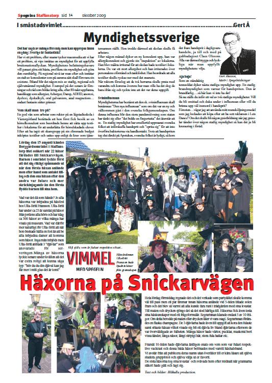 """Sidan 14 i lokaltidningen """"Spegeln"""" i Staffanstorp"""