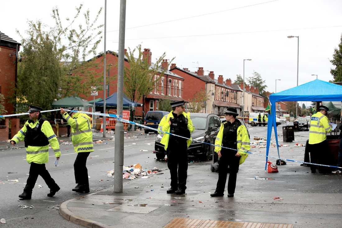 Gatan där skjutningen ägde rum i Manchester.