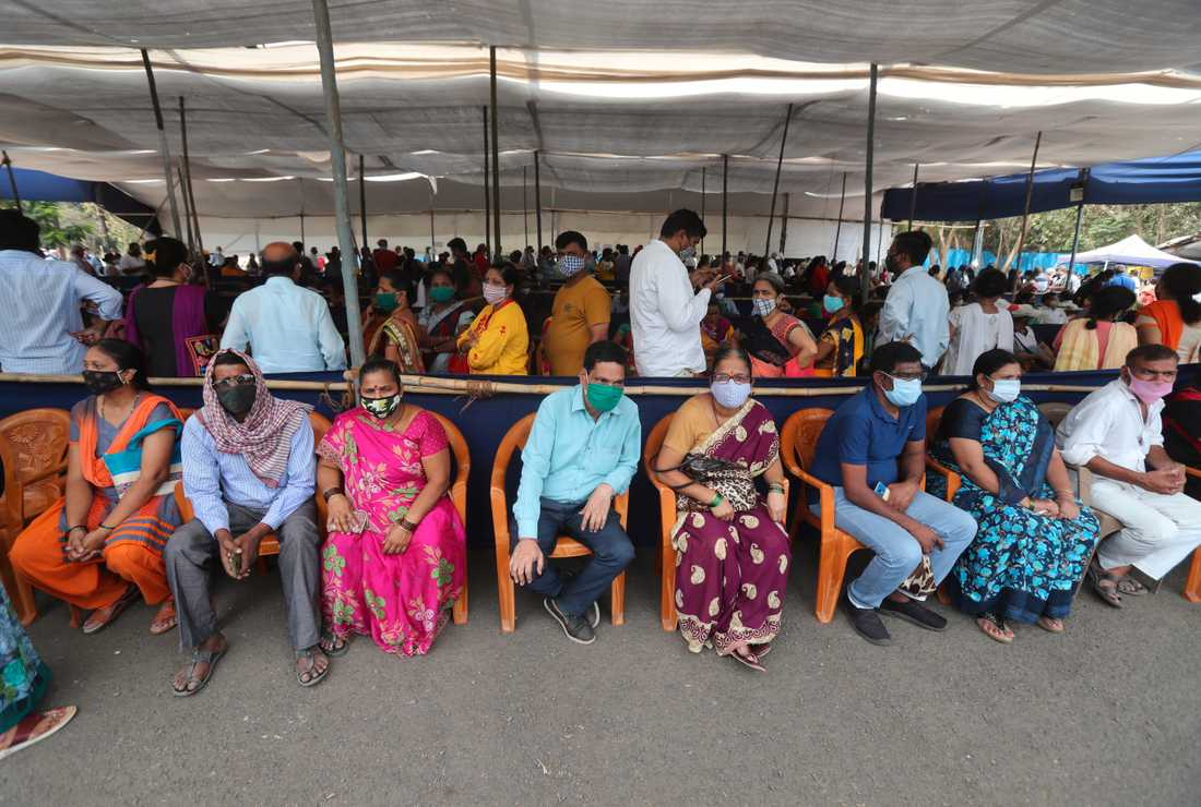 A vaccine queue in Mumbai, India.