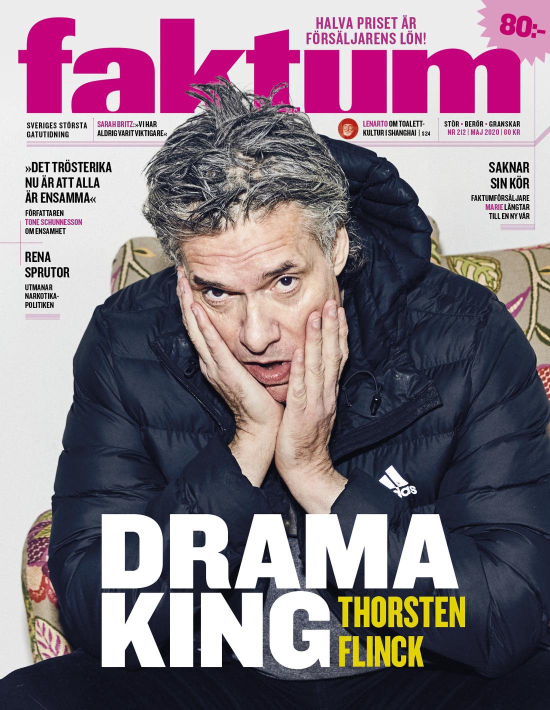 Thorsten Flinck pryder omslaget till senaste avsnittet av tidningen Faktum.
