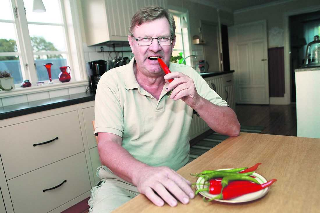 """Chilla lagom Het mat sänker blodtrycket. Men ta det försiktigt så du inte får i dig giftiga mängder. """" Det gör inget om det är bra att äta stark mat lite oftare"""" säger Sigurd Larsson, 67."""