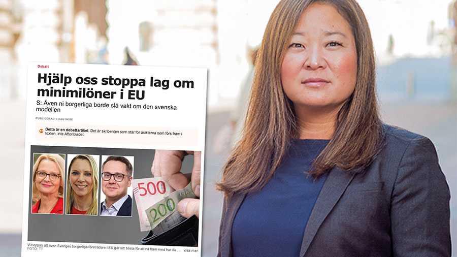Till skillnad från Socialdemokraternas europeiska parti har Moderaternas partigrupp, EPP, aktivt tagit ställning mot lagstiftning om minimilöner, skriver Jessica Polfjärd.