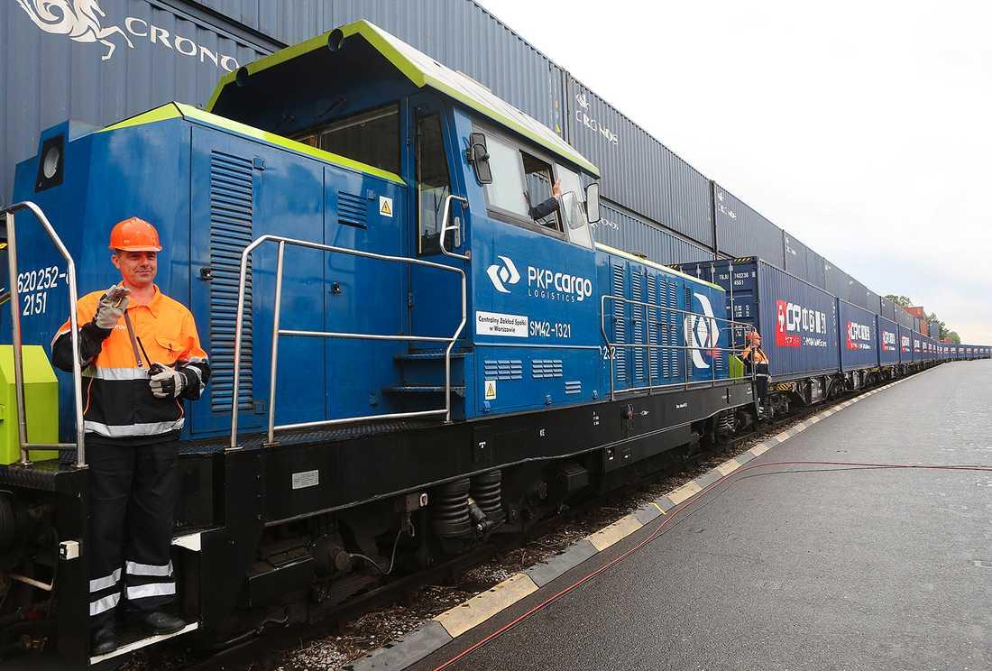 Expresståg som ska gå från Kina till Europa.