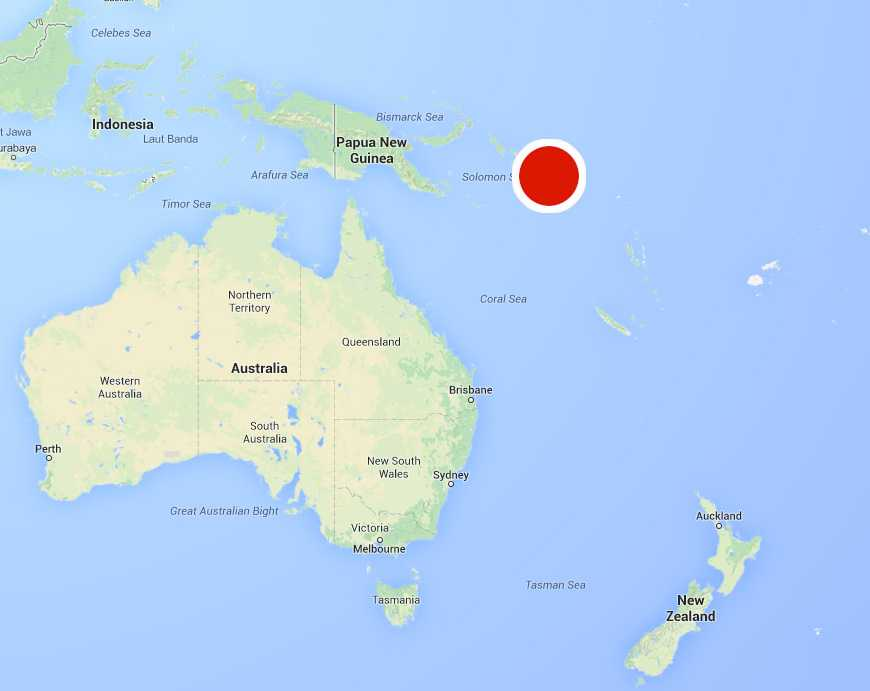 Skalvet registrerades utanför Salomonöarna.