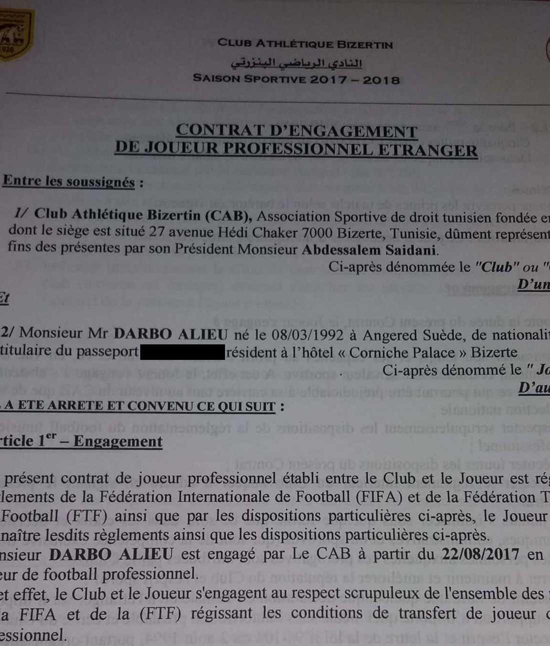 Alieu Darbos kontrakt med CA Bizertin daterat till den 22 augusti 2017.