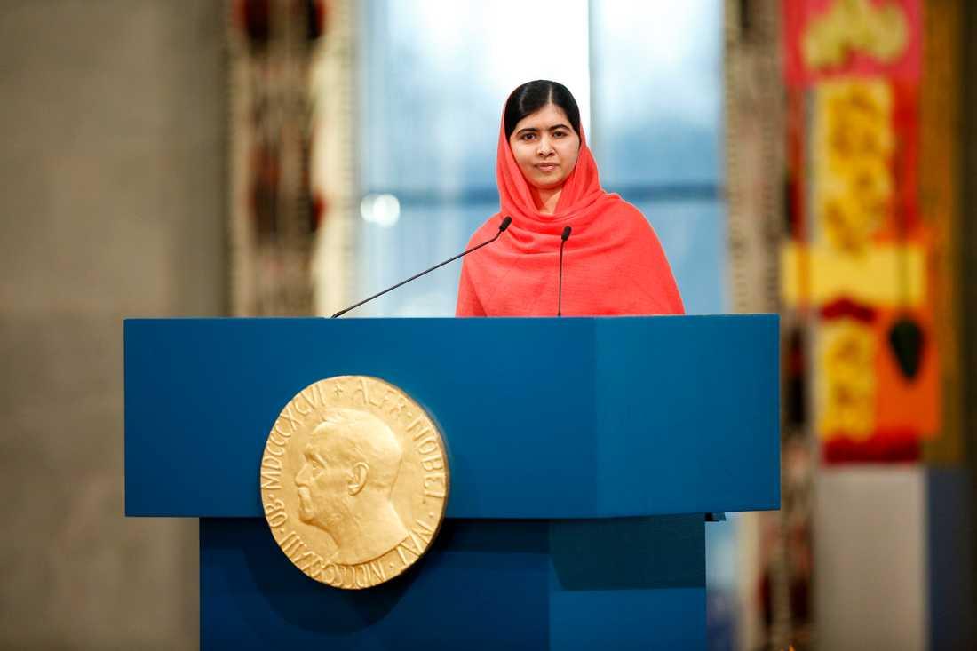 Malala Yousafzai fick ta emot Nobels Fredspris 2014. Här på plats i Oslo.