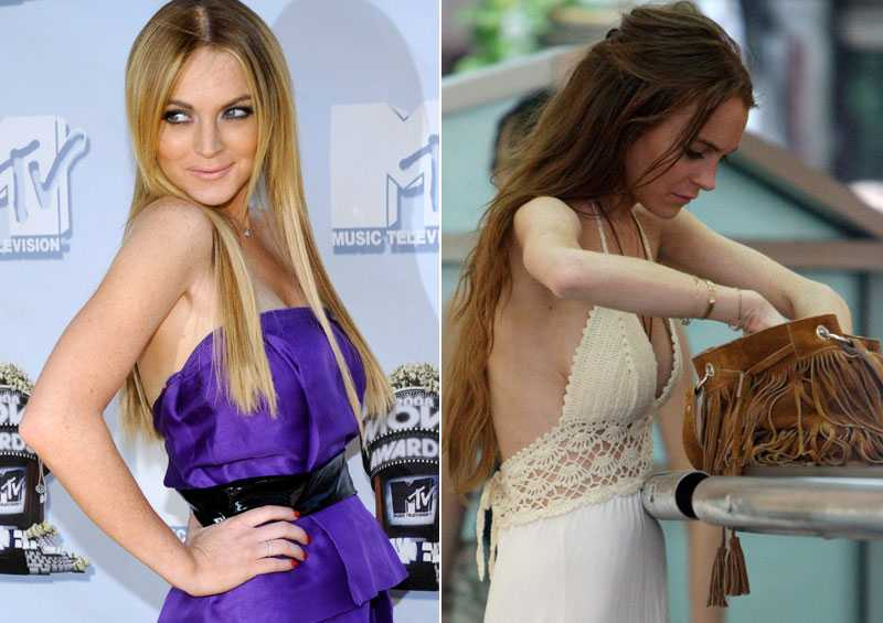 Lindsay Lohan vid MTV music awards. En smalare version av skådespelerskan fångades på bild när hon shoppade i Hollywood.