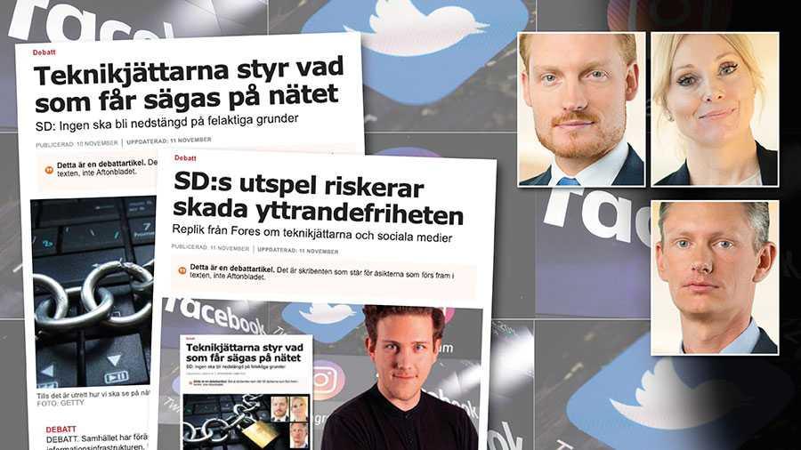 Utgångspunkten är att enbart innehåll som strider mot svensk lag ska tas bort från nätet. Kränkande tillmälen och falsk information ska bemötas med öppen debatt, skriver Aron Emilsson, Jessica Stegrud och Matheus Enholm.