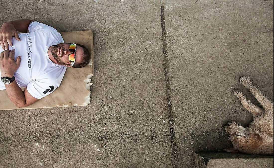 Efter de tuffa tävlingsdagarna pustade Arthur och vad som ser ut att kunna bli hans husse ut.