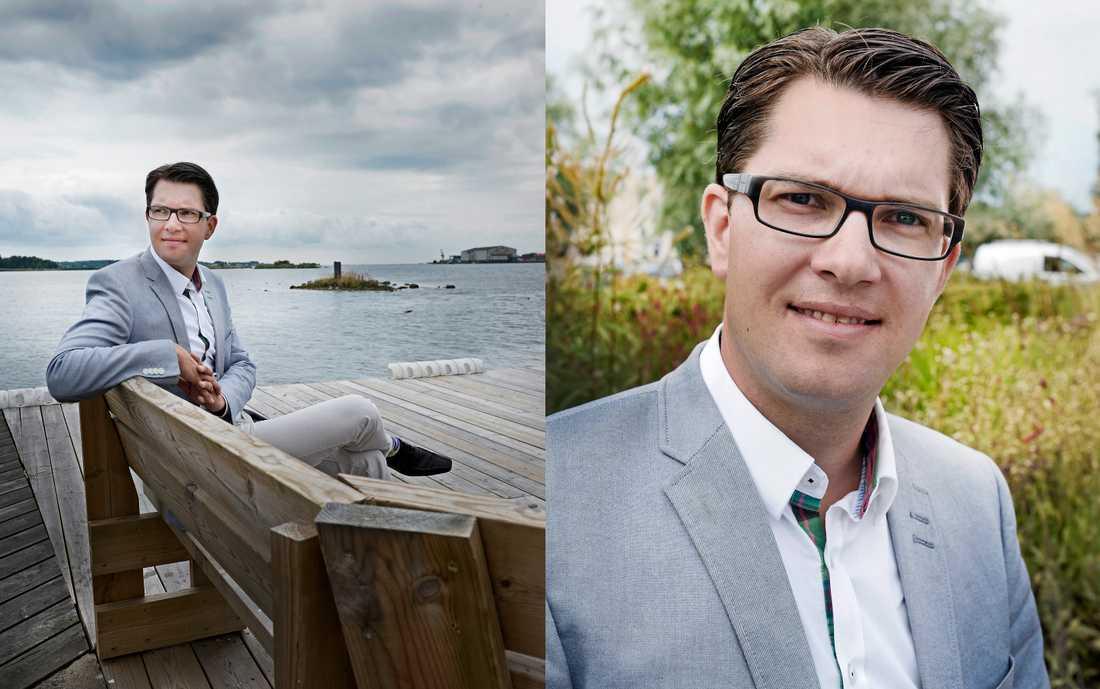 """Nationalrealist  Jimmie Åkesson räknar inte med att bli statsminister, men kan inte välja mellan Reinfeldt och Löfven. Hans parti står för social-konservatism och nationalististiska värderingar, men han ser det inte som borgerligt. När det gäller fördelningspolitik är jag lite vänster, när det gäller värdefrågor är jag kanske lite mer höger."""" Foto: STEFAN MATTSSON"""