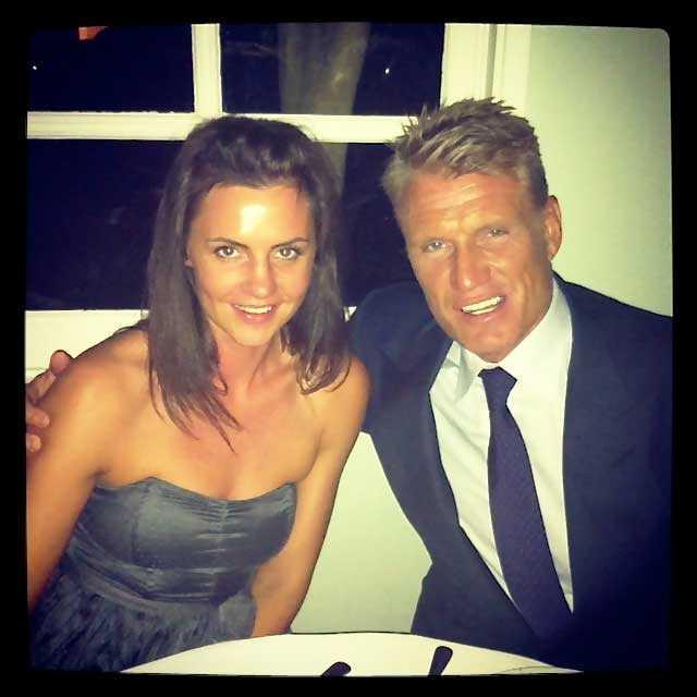 Dolph Lundgren och Jenny Sandersson vid förlovningstillfället.