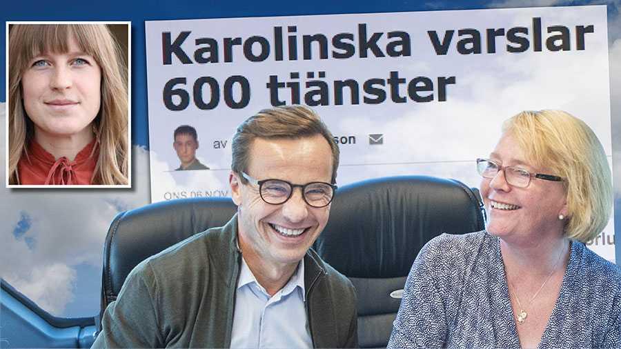 För att få gehör för en högerideologi som bygger på sänkta skatter och välfärd efter plånbok måste mattan först dras undan för den stora opinion som vill se en stark skattefinansierad välfärd. Det är det Moderaterna håller på med i Stockholm, skriver Elinor Odeberg. På bilden Moderaternas partiledare Ulf Kristersson och Stockholms regionråd Irene Svenonius.