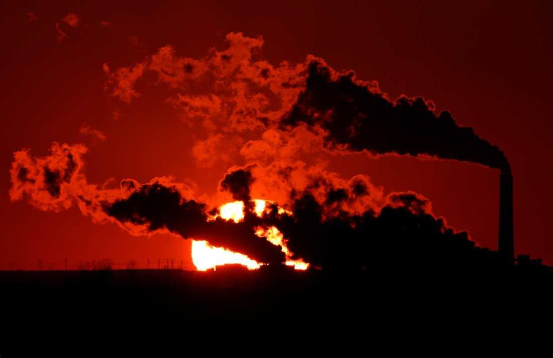 Röken stiger från ett kolkraftverk nära St. Marys i Kansas, USA: Förbränningen av kol står för 42 procent av de globala koldioxidutsläppen från fossila bränslen.