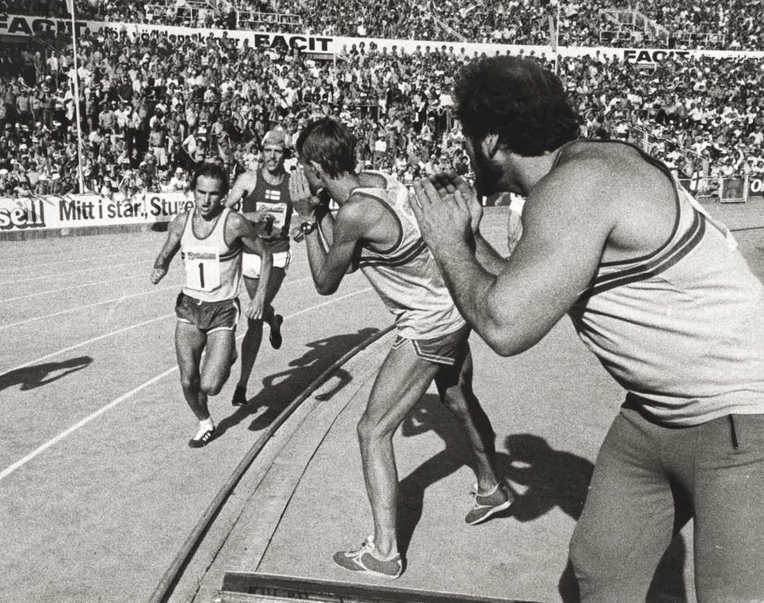 Hejar tillsammans med Anders Gärderud på under 5000 meter i finnkampen 1975.