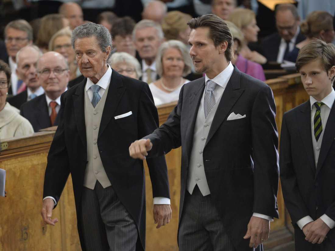 Walther Sommerlath till vänster tillsammans med Patrick Sommerlath och Leopold Lundén Sommerlath vid prins Oscars dop 2016. Arkivbild.