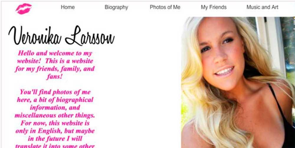 """Bilderna som """"Veronika Larsson"""" lagt ut på sig själv visade sig tillhöra en tjej i Kalifornien. Nu är bloggen nedstängd."""