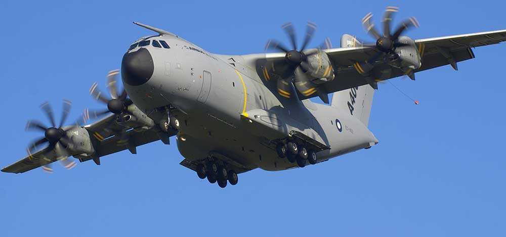 Ett plan av typen A400M Airbus kraschade utanför Sevilla. OBS! Planet på bilden har ingenting med händelsen att göra.