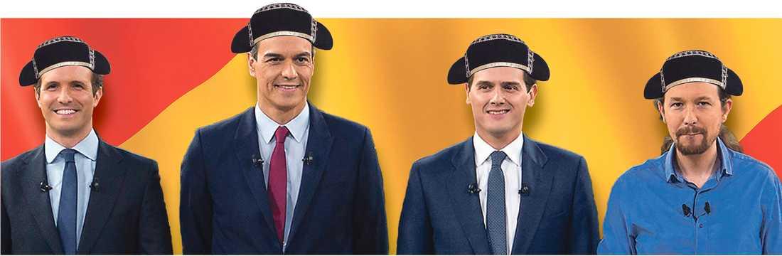Matadorerna: Från vänster Pablo Casado, Partido popular (PP), Pedro Sanchez, Socialistiska arbetarpartiet (PSOE), Albert Rivera, Ciudadanos och Pablo Iglesias, Podemos. (Bilden är ett montage).