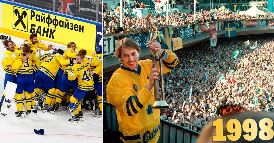 """REPRIS I DAG?? Peter """"Foppa"""" Forsberg visar upp pokalen från VM i Schweiz inför drygt 70000 personer på Sergels torg den 18 maj 1998."""