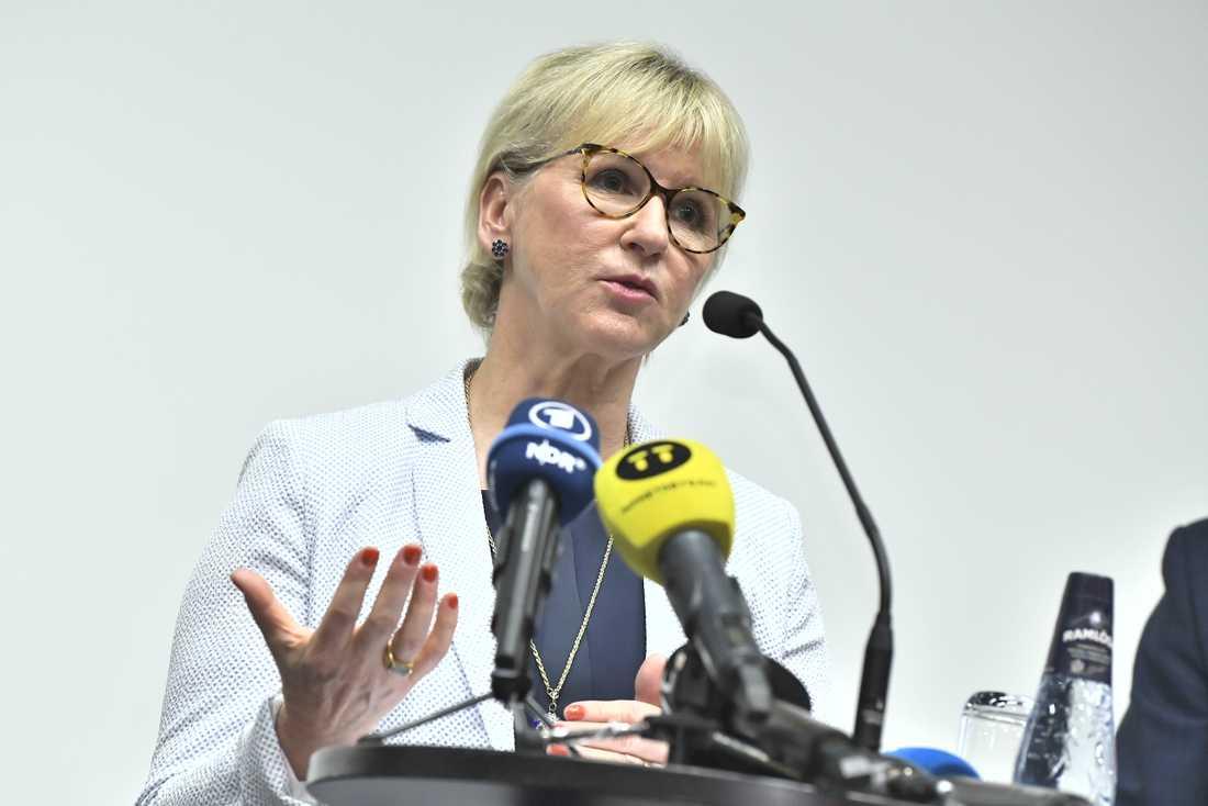 Utrikesminister Margot Wallström (S) vid en presskonferens efter mötet i Stockholm.
