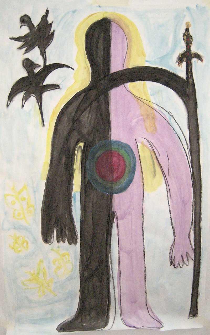 """""""Det tog tid att måla hur det kändes inombords- att halva kroppen var död, eller hade mött döden, och alltid skulle minnas den. Jag målade ofta lien, och sorgefåglarna."""""""