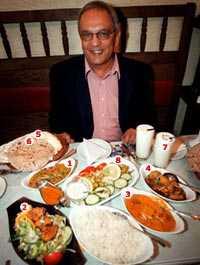 Sudhir Kashyap är redo att hugga in på en indisk middag. Rätterna på bilden: 1 Tarka dal   linsgryta med örter frästa i smör. 2 Murgh tandoori   marinerade kycklinglår tillagat på spett i tandoori. 3 Roghan josh   lammstuvning. 4 Alo gobhi   potatis och blomkål. 5 Nan   ugnsbakat bröd. 6 Chapati   stekt bröd. 7 Lassi   yoghurtdryck. 8 Sallad med raita, yoghurtdressing.
