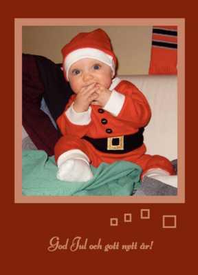 Såhär kan ett personligt julkort se ut – med din alldeles egna tomte på bild.