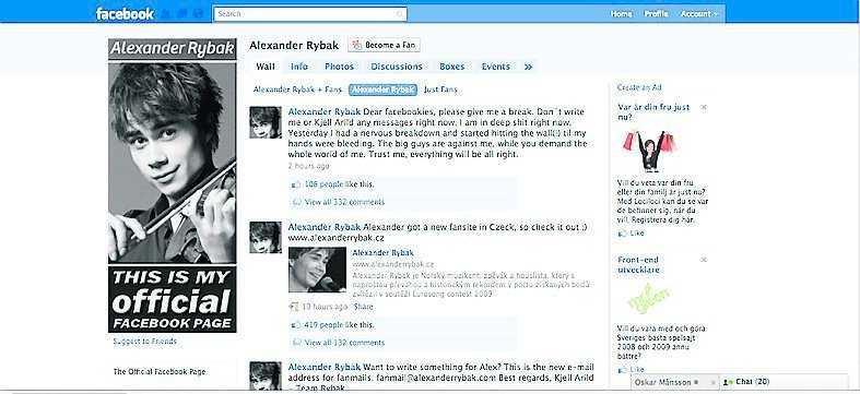 Rybaks Facebooksida i går.