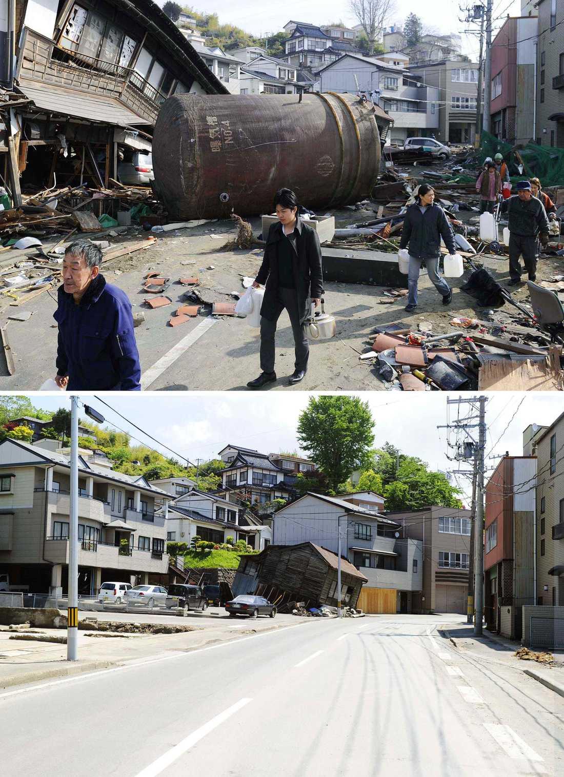 Kesennuma efter katastrofen och i dag.