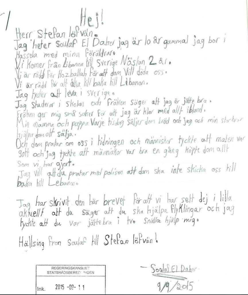 Soulafs brev till Stefan Löfven.
