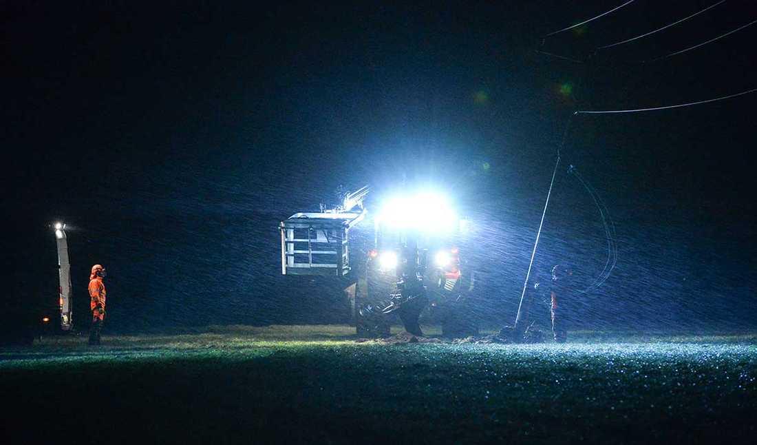 Personal från Södra Hallands Kraft arbetar med att resa stormfällda ledningsstolpar söder om Laholm tidigt på  måndagsmorgonen.