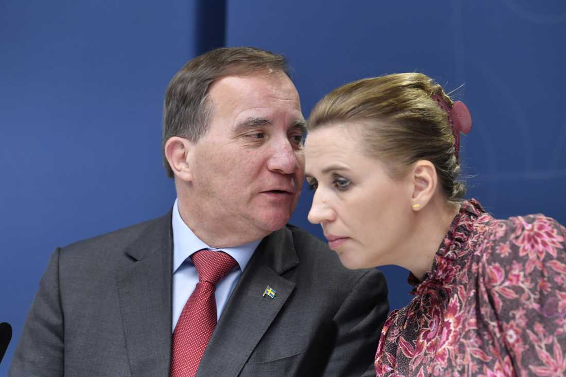 Sveriges statsminister Stefan Löfven och hans danska kollega Mette Frederiksen kämpar för att hålla nere utgifterna i EU:s budget. Arkivbild,