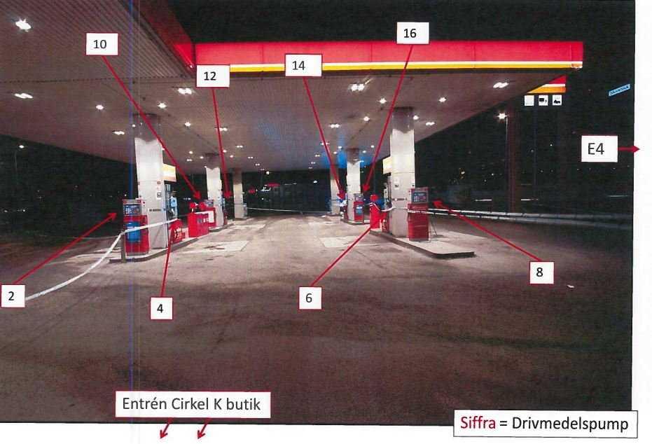 Bild ur förundersökningen på bensinmacken där skottlossningen ägde rum.