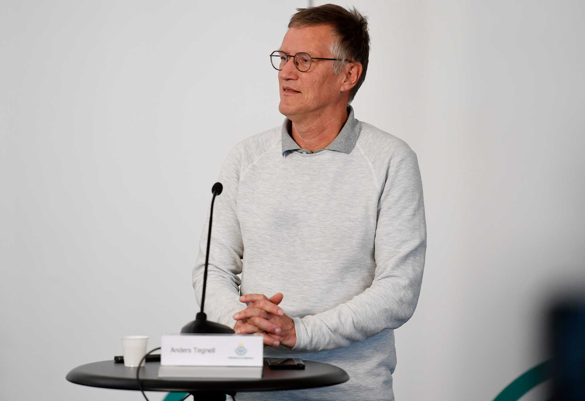 Anders Tegnell under pressträffen.